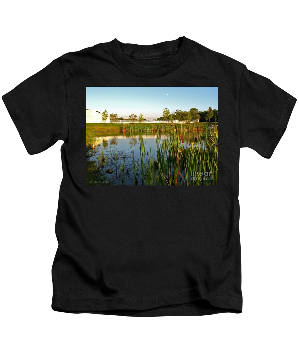 Landscape Kids T-Shirt featuring the photograph Pond At Sunset by Todd Blanchard
