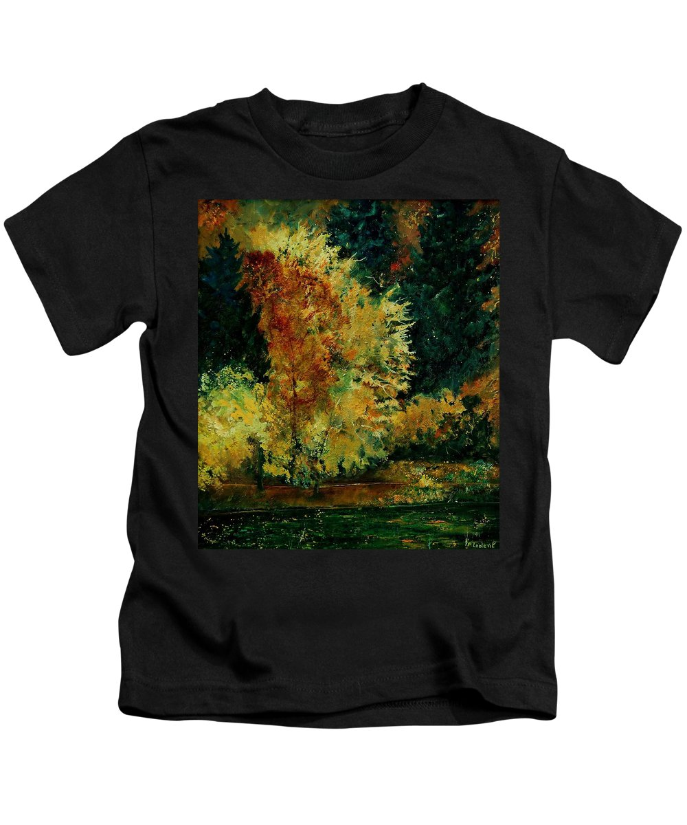 Landscape Kids T-Shirt featuring the painting Pond In Fenffe by Pol Ledent