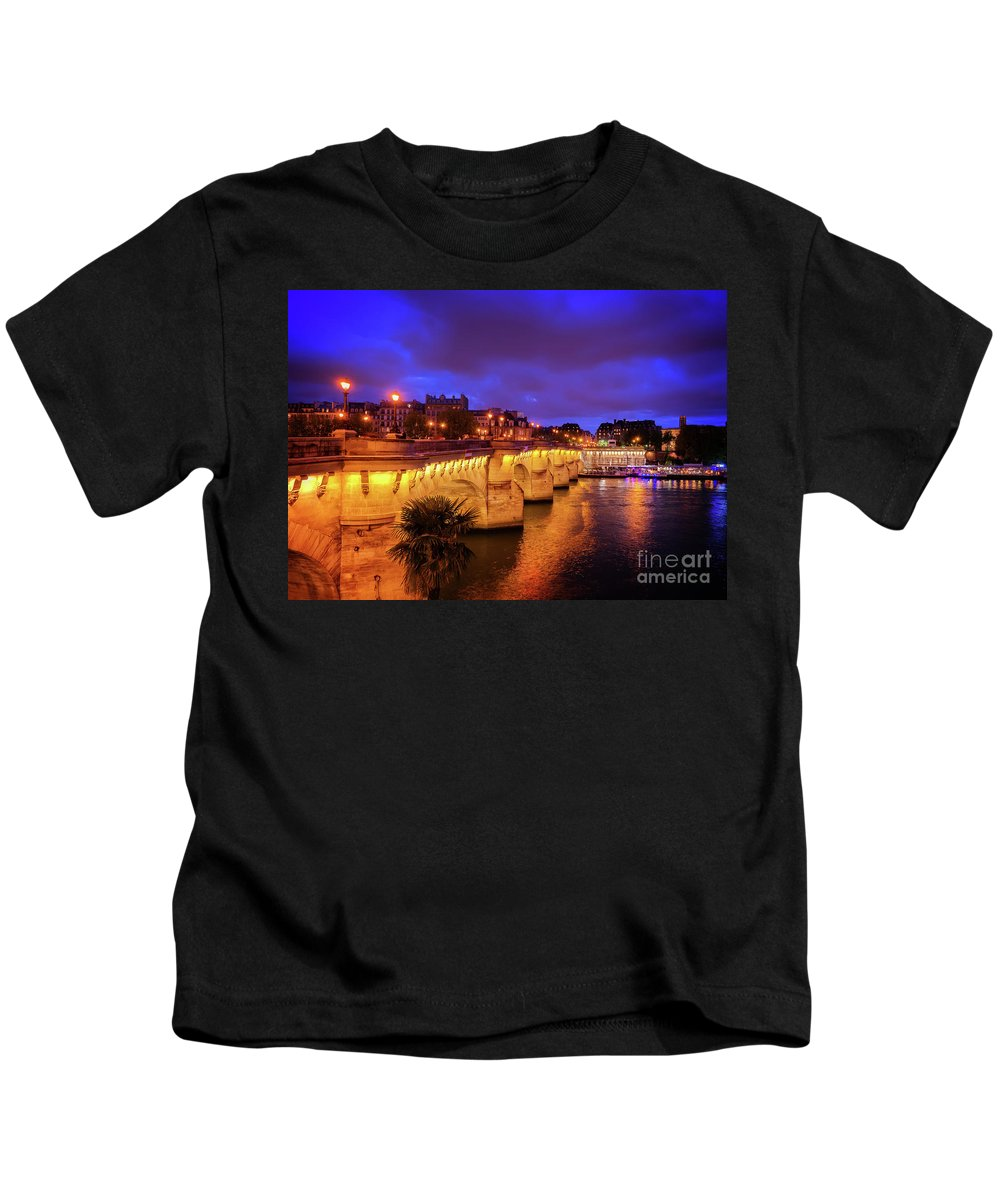 Paris Kids T-Shirt featuring the photograph Pont Neuf At Night by Anastasy Yarmolovich