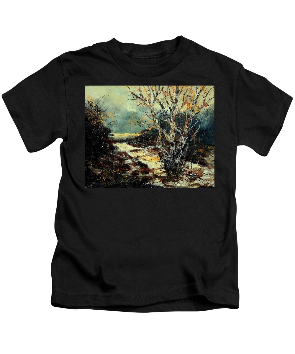 Tree Kids T-Shirt featuring the painting Poplars 45 by Pol Ledent