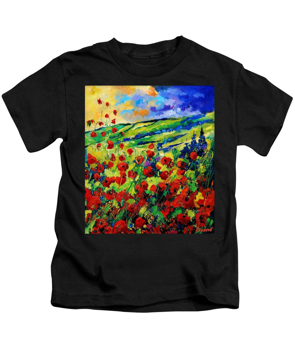 Flowers Kids T-Shirt featuring the painting Poppies 78 by Pol Ledent
