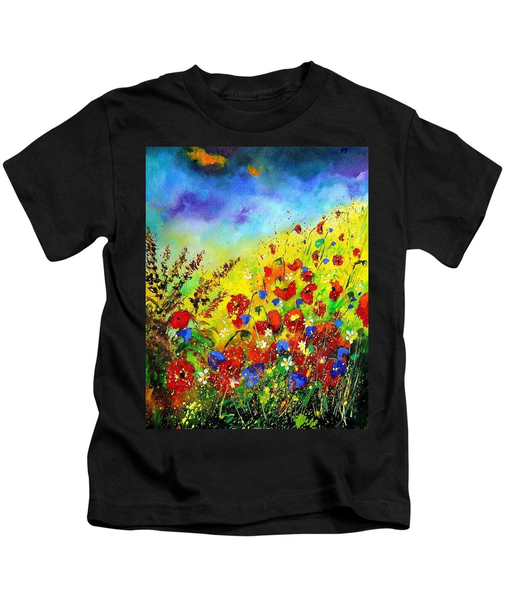 Poppies Kids T-Shirt featuring the print Poppies And Blue Bells by Pol Ledent
