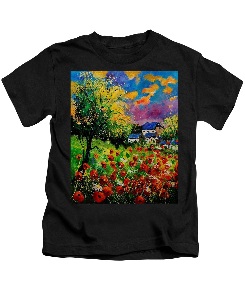 Landscape Kids T-Shirt featuring the painting Poppies and daisies 560110 by Pol Ledent
