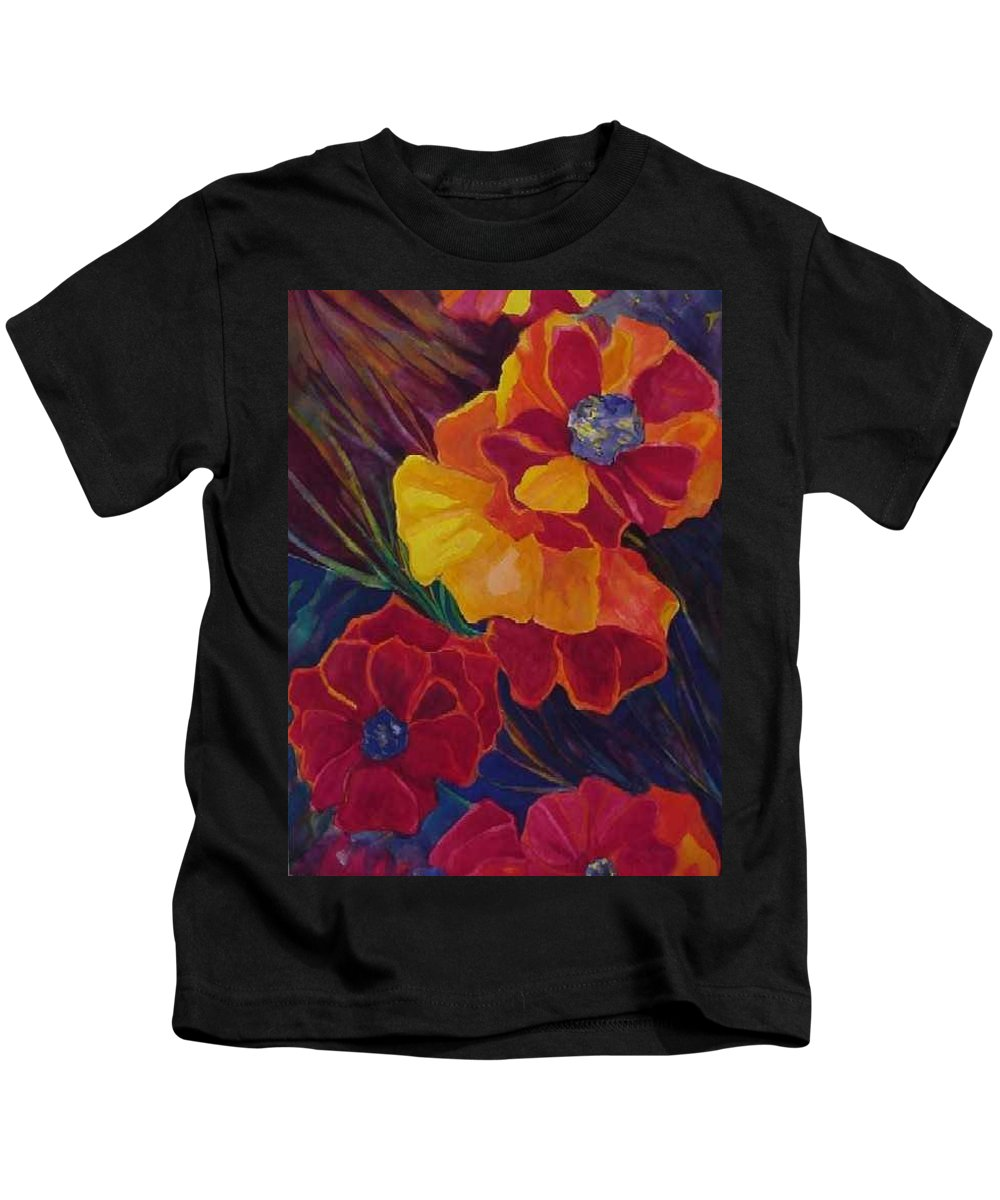 Flowers Kids T-Shirt featuring the painting Poppies by Carolyn LeGrand