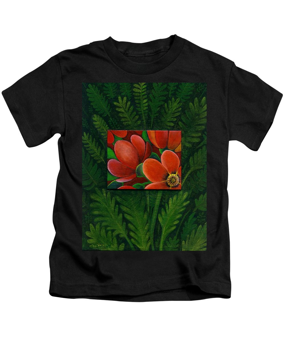 Poppy Kids T-Shirt featuring the painting Poppies by Helena Tiainen