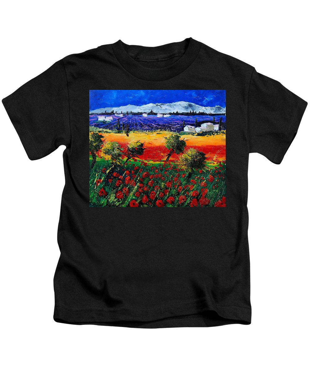 Poppy Kids T-Shirt featuring the painting Poppies in Provence by Pol Ledent