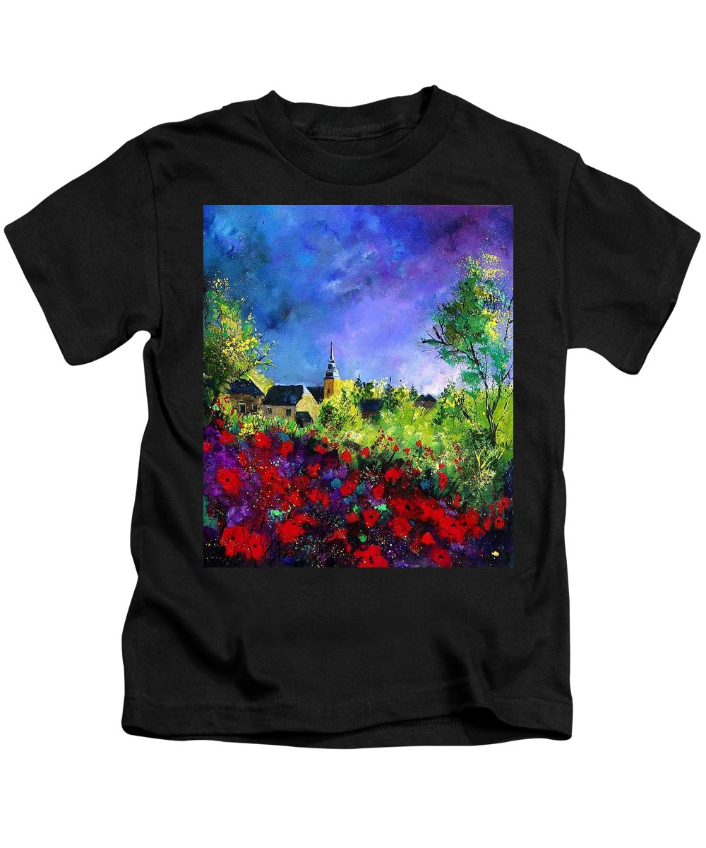 Flowers Kids T-Shirt featuring the painting Poppies In Villers by Pol Ledent