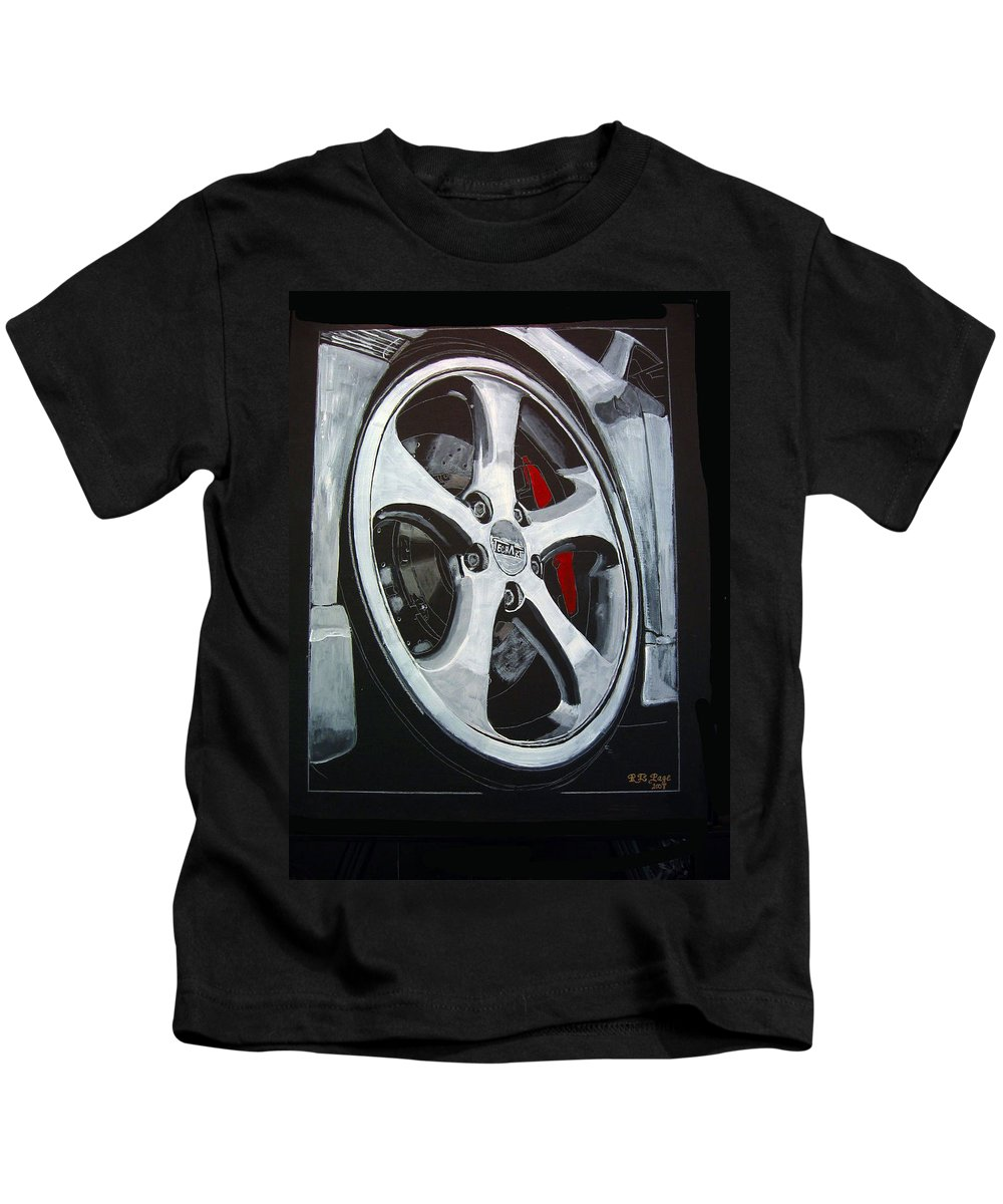 Porsche Kids T-Shirt featuring the painting Porsche Techart Wheel by Richard Le Page
