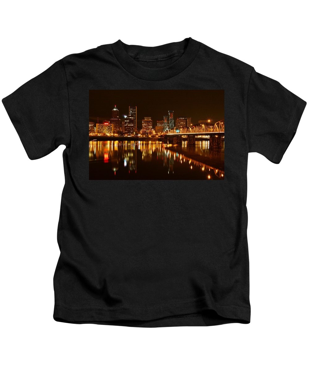 Portland At Night Kids T-Shirt featuring the photograph Portland At Night by Wes and Dotty Weber