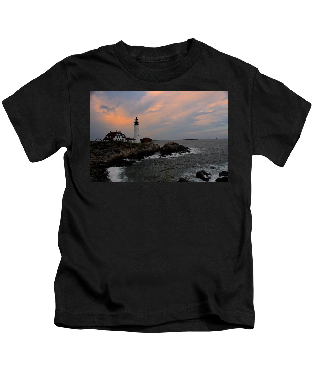 Landscape Kids T-Shirt featuring the photograph Portland Head Lighthouse by Darlene Perry