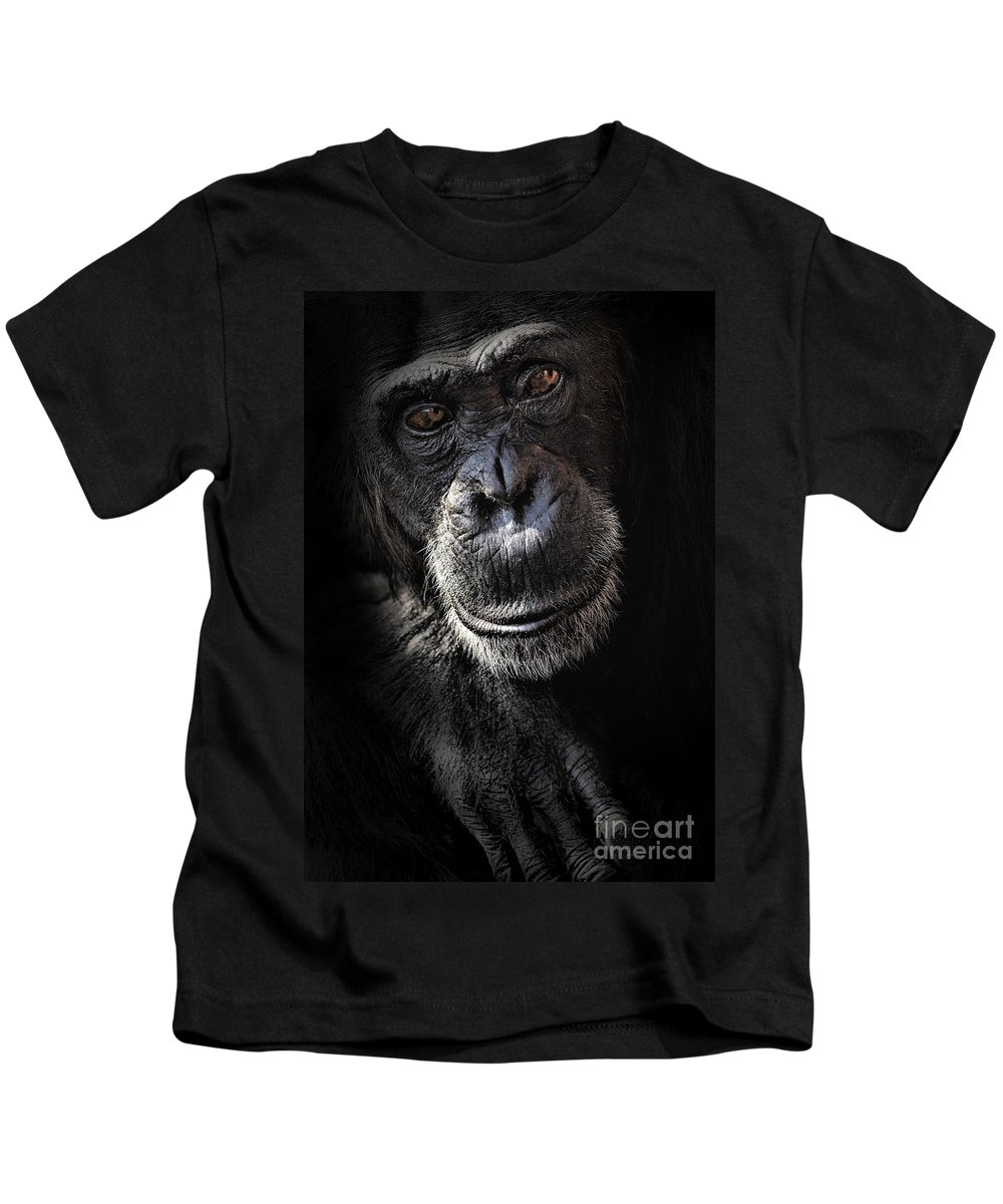 Chimp Kids T-Shirt featuring the photograph Portrait Of A Chimpanzee by Sheila Smart Fine Art Photography