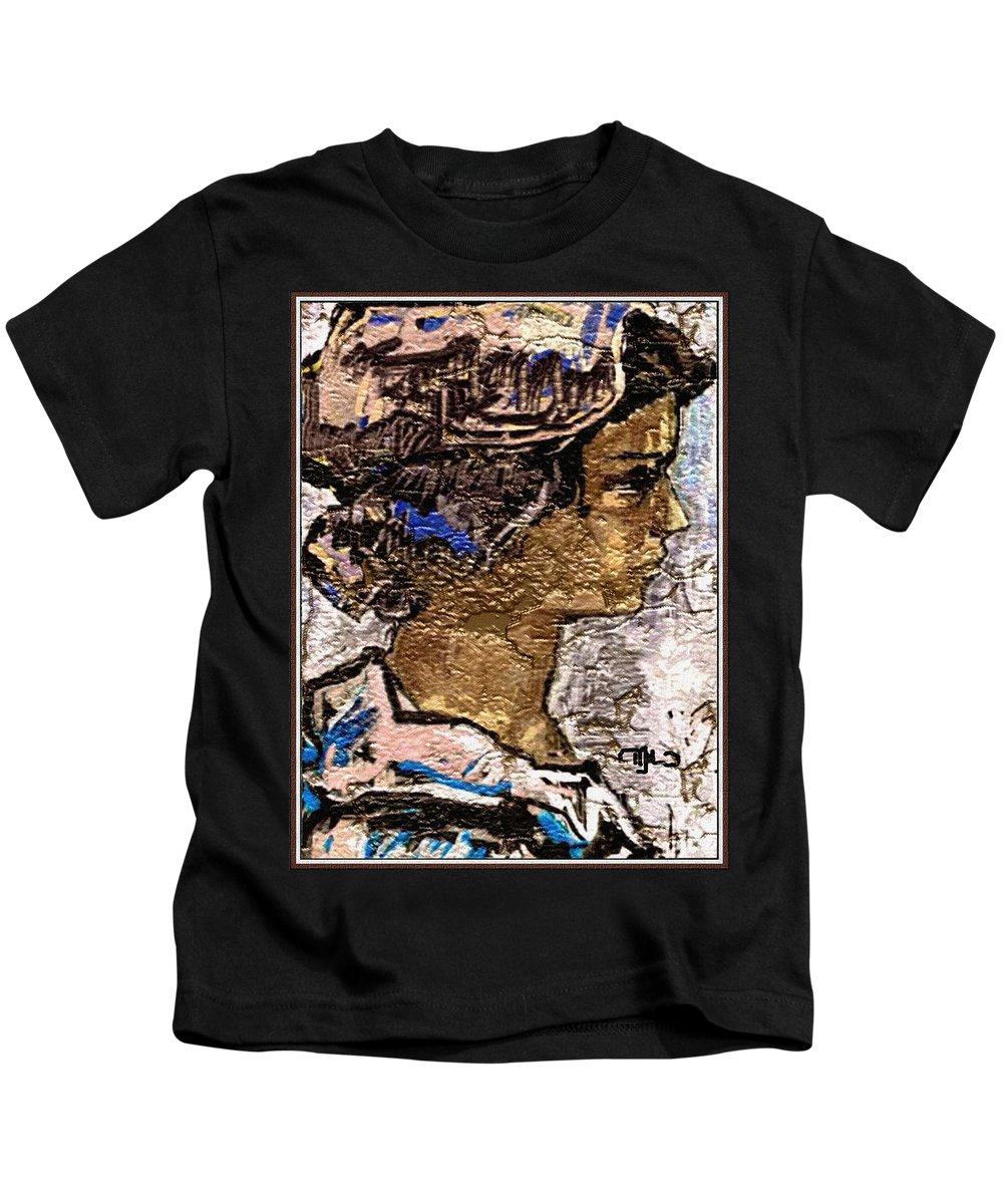 People Kids T-Shirt featuring the digital art Portrait Of A Girl Pog2 by Pemaro