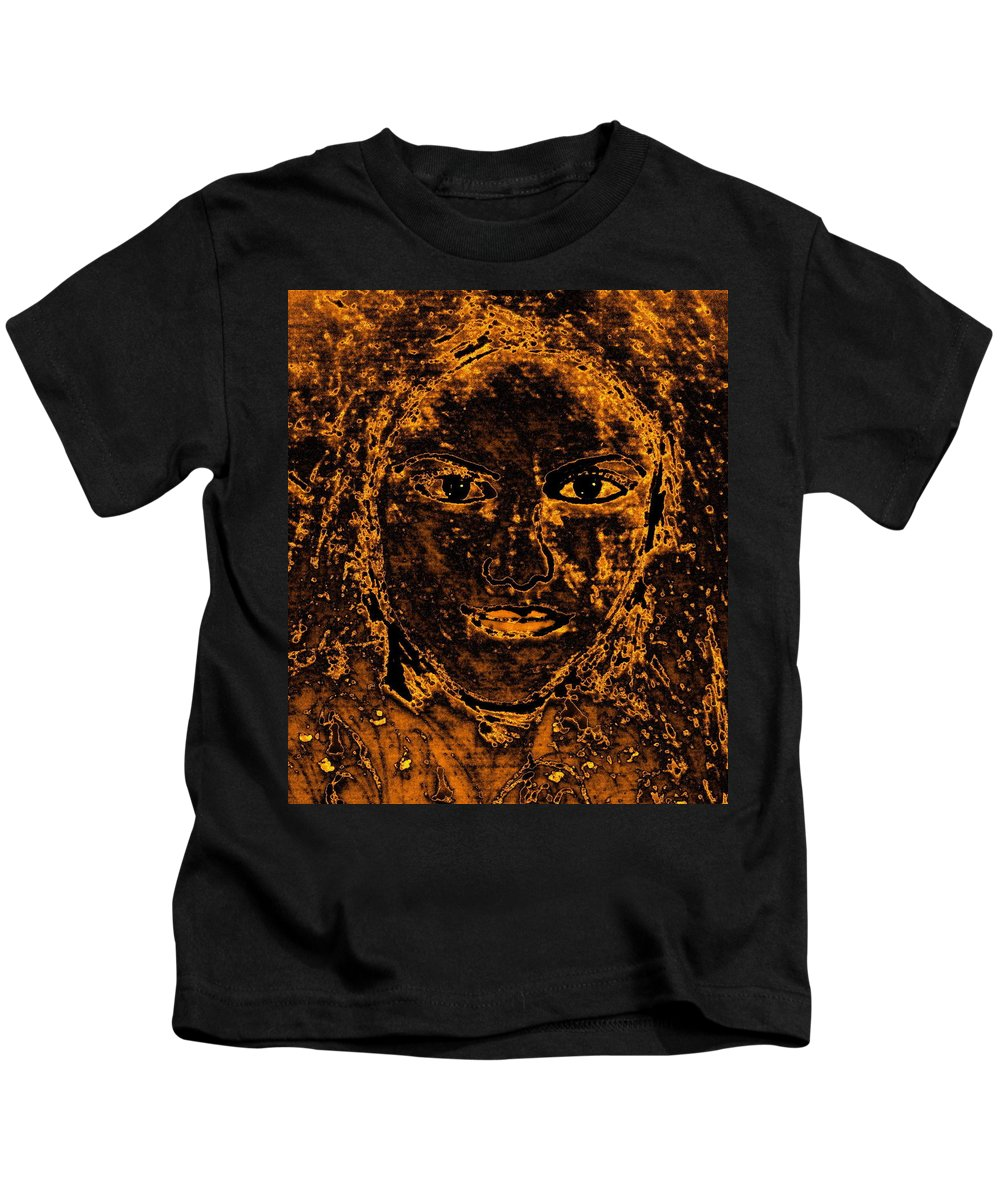 Ancient Woman Kids T-Shirt featuring the mixed media Portrait Of An Ancient Woman by Natalie Holland