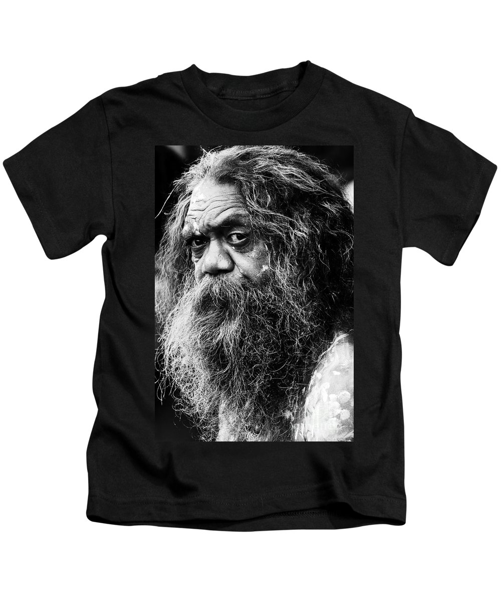 Aborigine Aboriginal Australian Kids T-Shirt featuring the photograph Portrait Of An Australian Aborigine by Sheila Smart Fine Art Photography