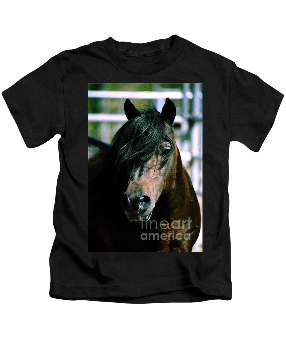 Horse Kids T-Shirt featuring the photograph Portrait Of His Majesty - The King by Kathy McClure