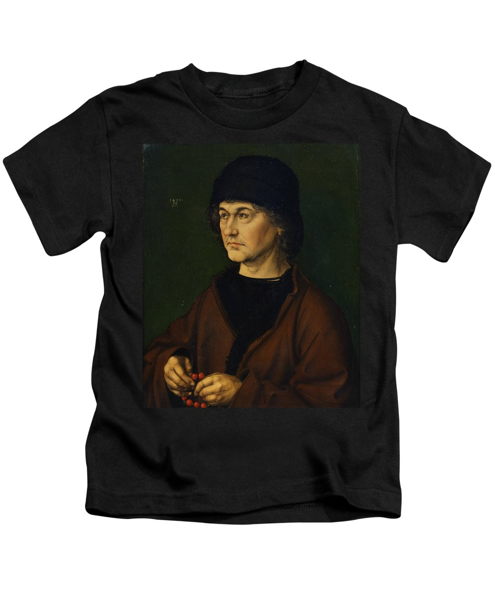 Albrecht Durer Kids T-Shirt featuring the painting Portrait Of The Artist's Father by Albrecht Durer