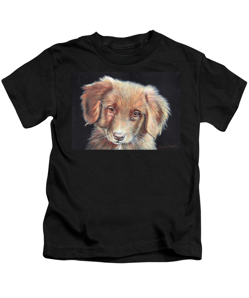Labrador Kids T-Shirt featuring the painting Portrait Of Toby by John Neeve