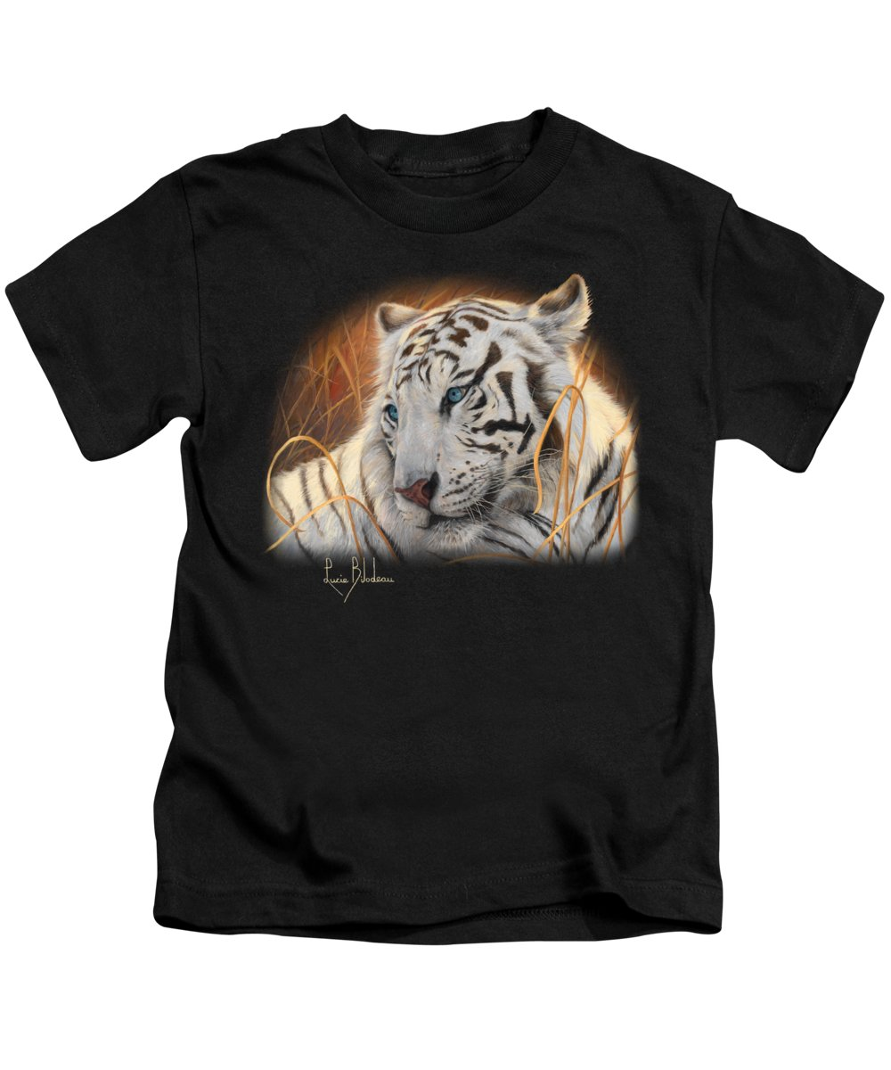 95fc2a992d490 Tiger Kids T-Shirt featuring the painting Portrait White Tiger 1 by Lucie  Bilodeau