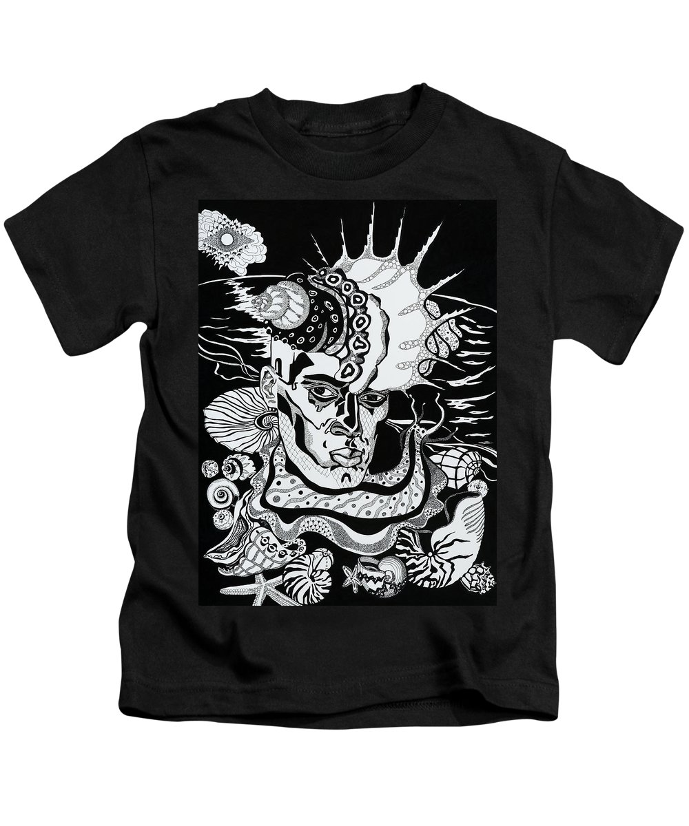 Surreal Kids T-Shirt featuring the drawing Poseidon by Yelena Tylkina