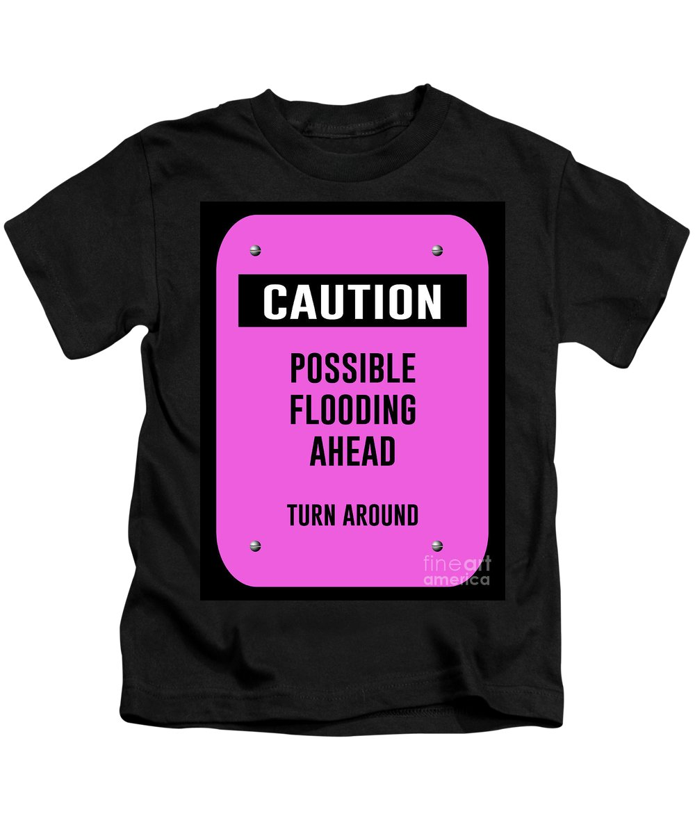 Caution Kids T-Shirt featuring the digital art Possible Flooding Ahead by Anne Kitzman