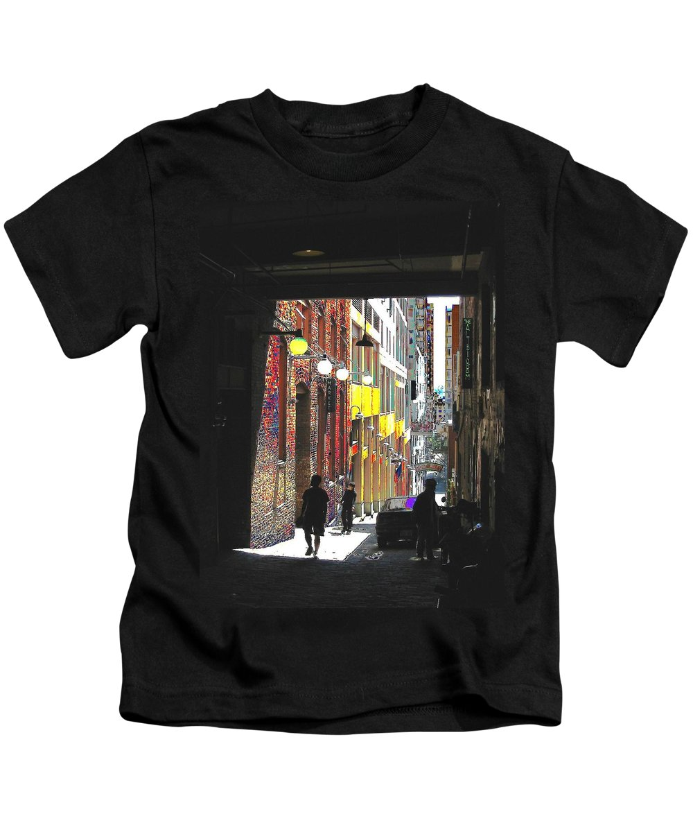 Seattle Kids T-Shirt featuring the digital art Post Alley by Tim Allen