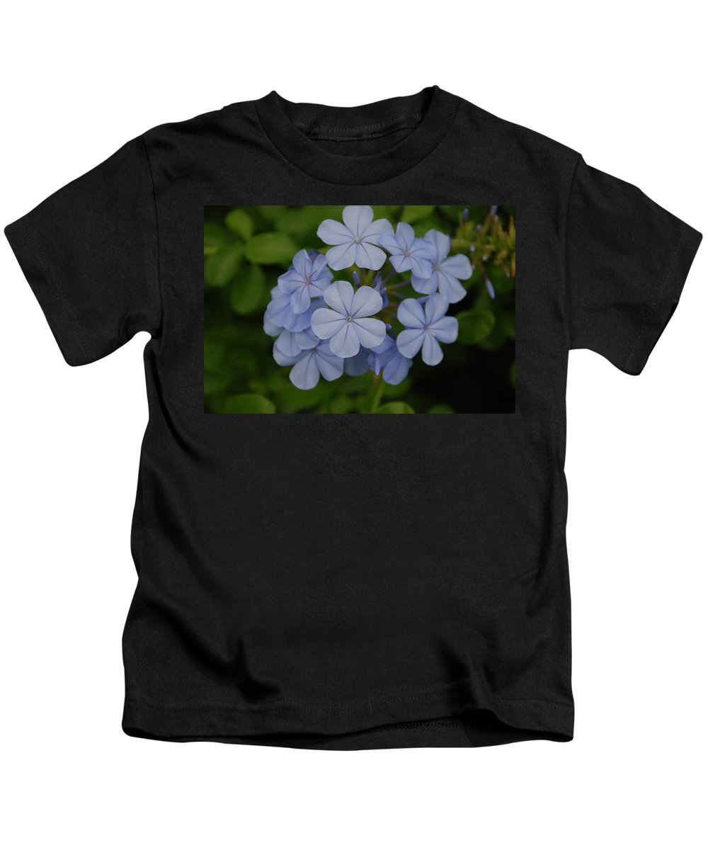 Macro Kids T-Shirt featuring the photograph Powder Blue Flowers by Rob Hans