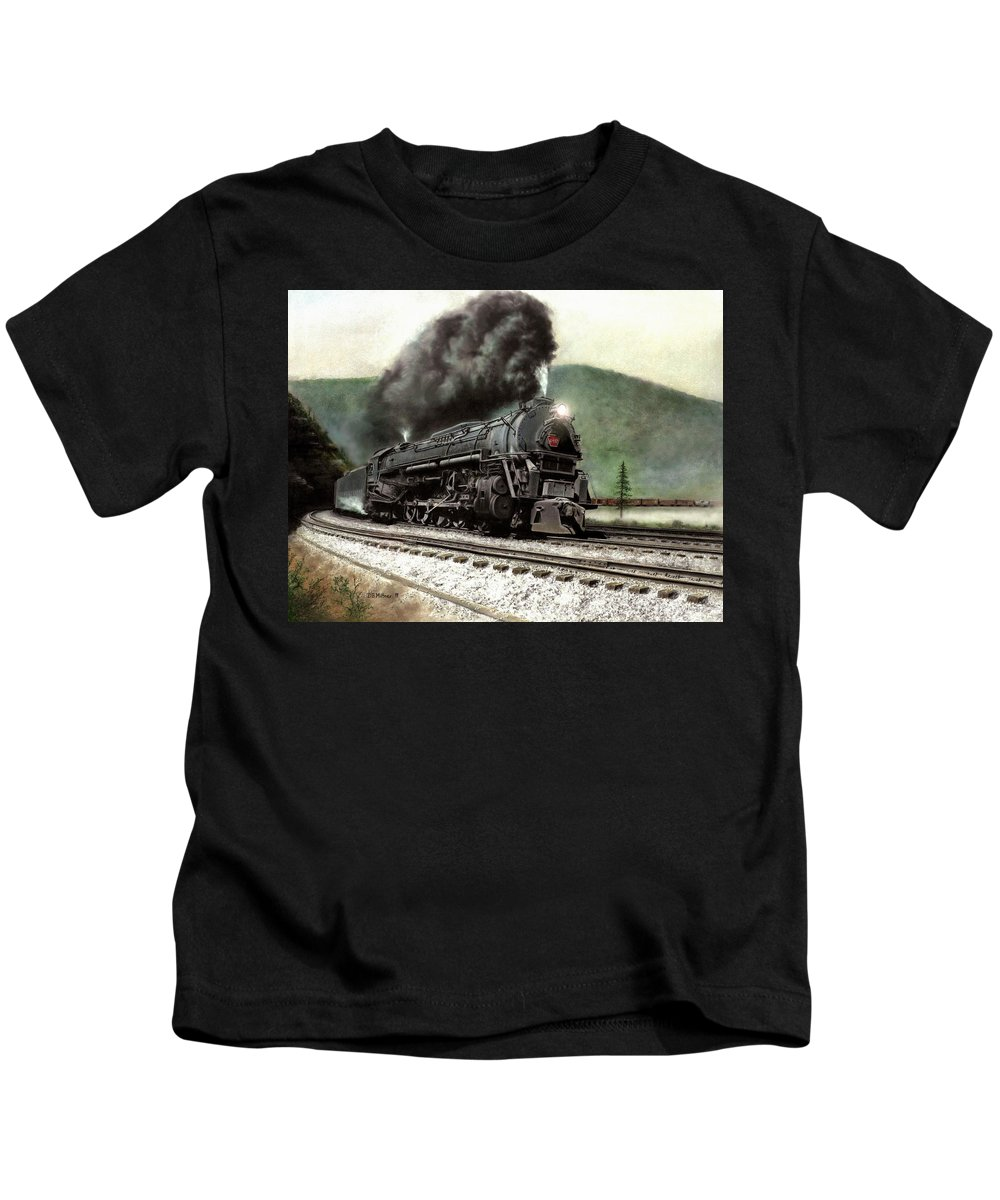 Kids T-Shirt featuring the painting Power on the Curve by David Mittner