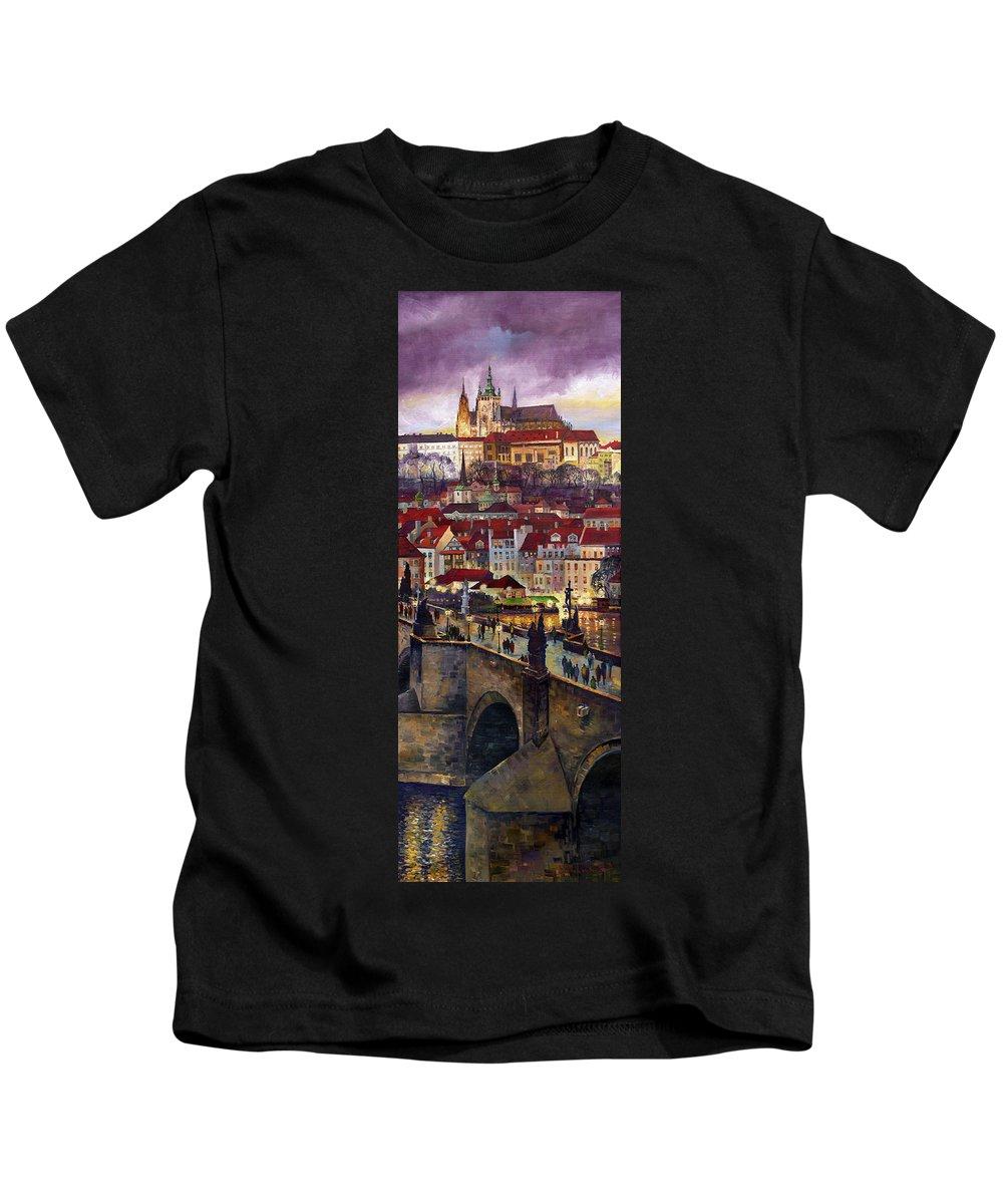 Prague Kids T-Shirt featuring the painting Prague Charles Bridge With The Prague Castle by Yuriy Shevchuk