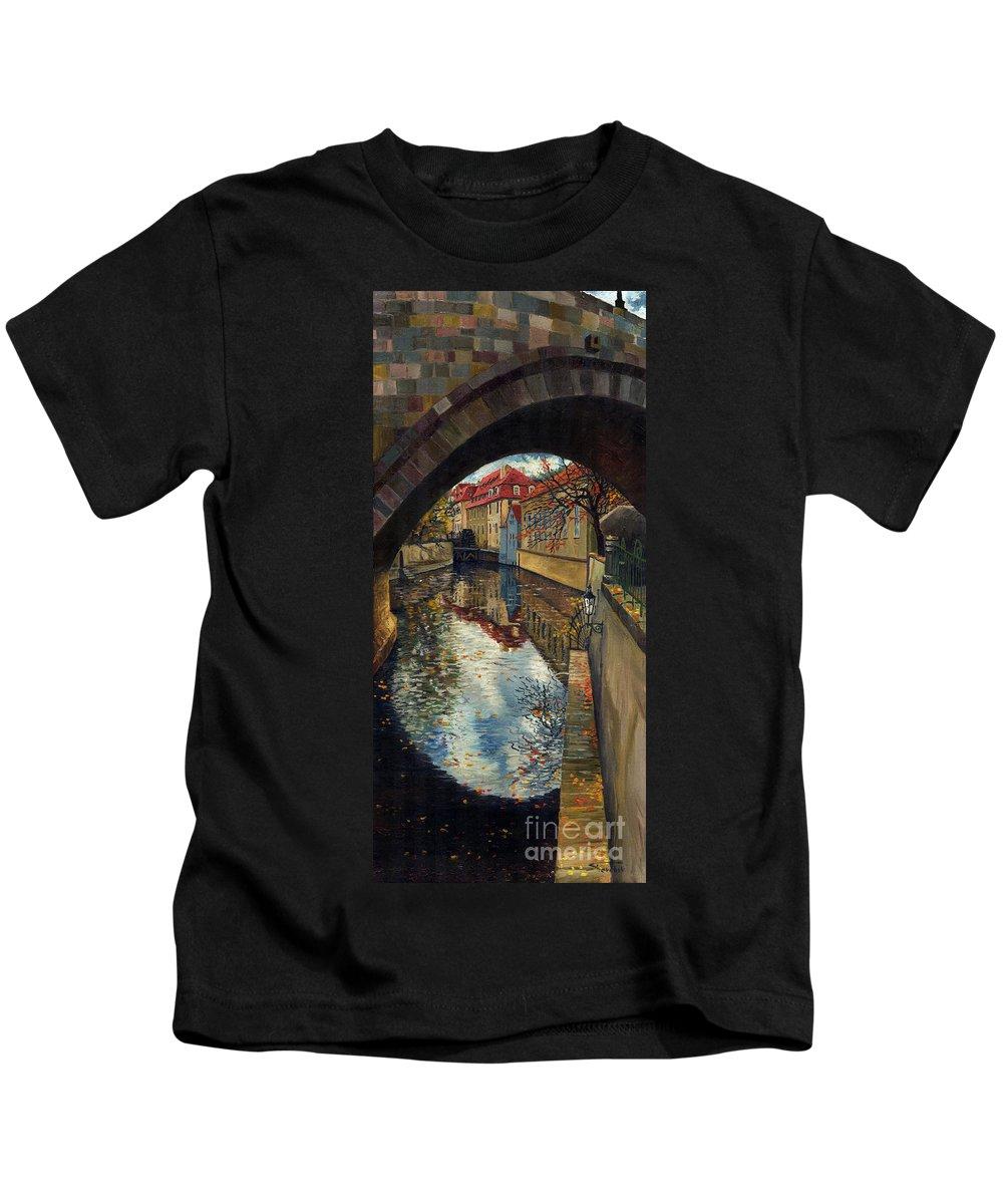 Oil Kids T-Shirt featuring the painting Prague Chertovka 3 by Yuriy Shevchuk