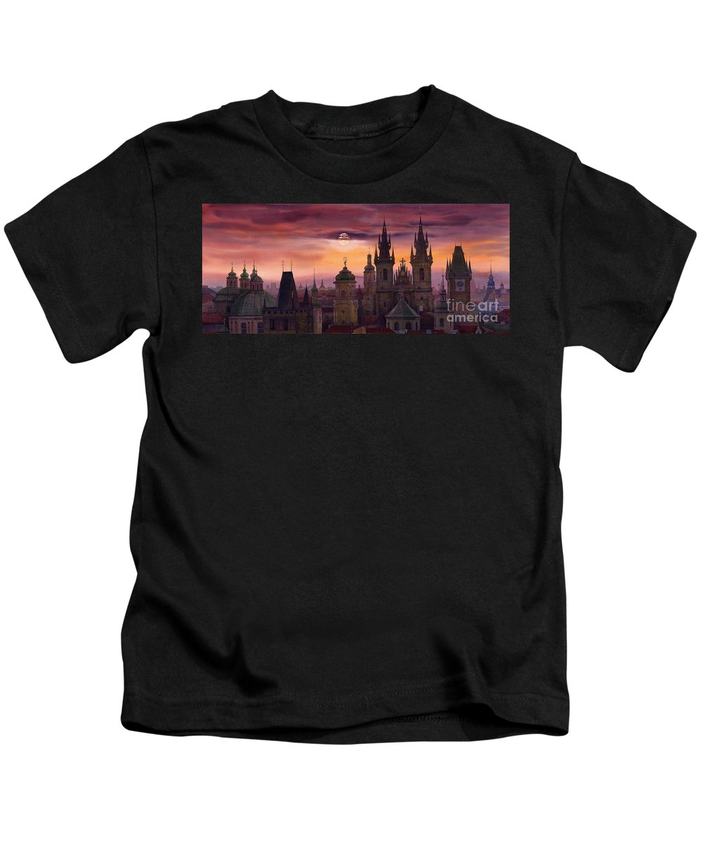 Cityscape Kids T-Shirt featuring the painting Prague City Of Hundres Spiers by Yuriy Shevchuk
