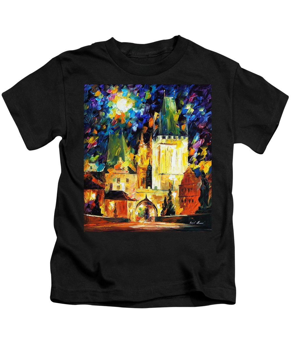 Afremov Kids T-Shirt featuring the painting Prague by Leonid Afremov