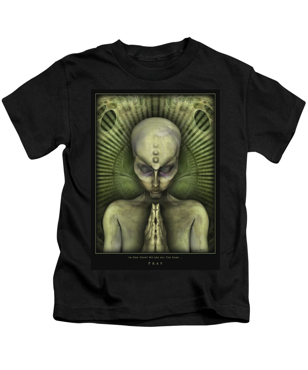 Alien Kids T-Shirt featuring the digital art Pray In One Point We Are All The Same by Nandor Volovo