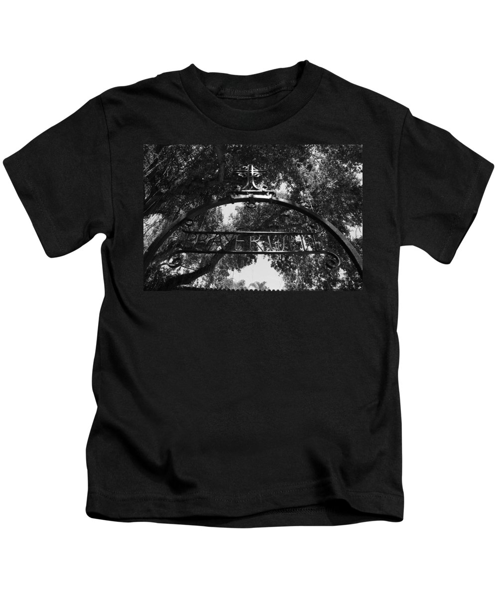 Black And White Kids T-Shirt featuring the photograph Prayer Well by Rob Hans