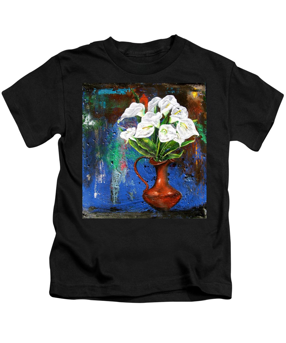 Orchid Painting Kids T-Shirt featuring the painting Preacher In The Pulpit 2 by Laura Pierre-Louis