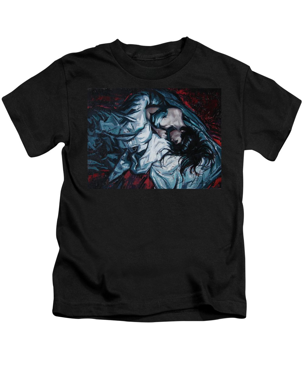 Oil Kids T-Shirt featuring the painting Presentiment of insomnia by Sergey Ignatenko