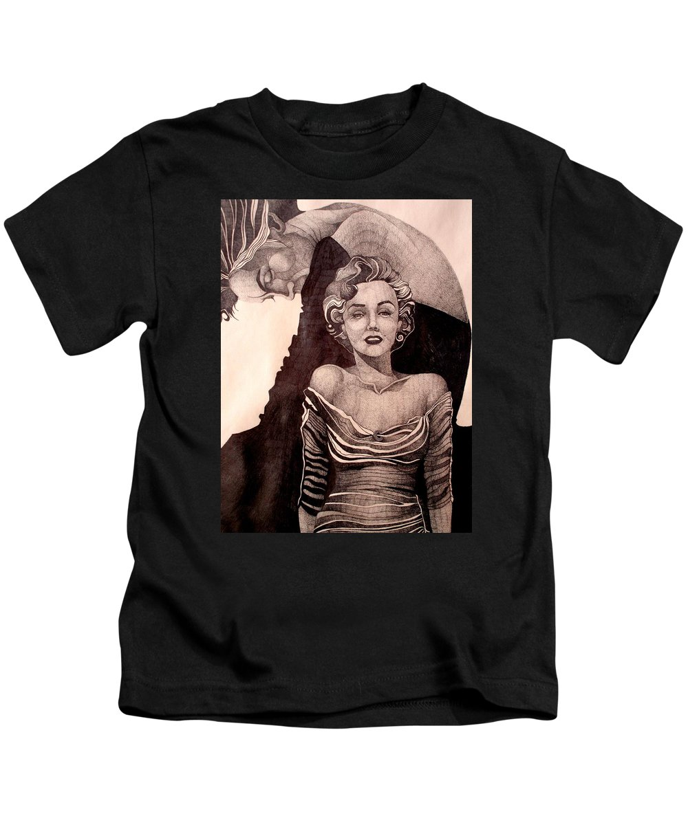 Marilyn Monroe Kids T-Shirt featuring the drawing Pretty Hate Machine by Nelson F Martinez