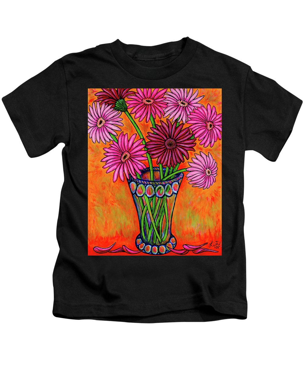 Gerber Kids T-Shirt featuring the painting Pretty in Pink Gerbers by Lisa Lorenz