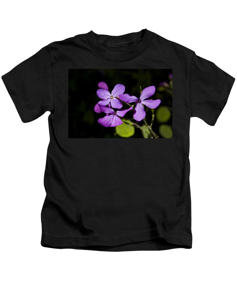 Flowers Kids T-Shirt featuring the photograph Pretty In Purple by Gary Adkins