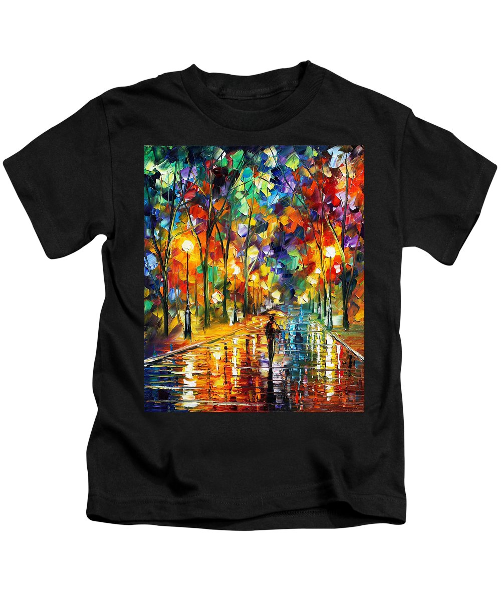 Art Gallery Kids T-Shirt featuring the painting Pretty Night - Palette Knife Oil Painting On Canvas By Leonid Afremov by Leonid Afremov