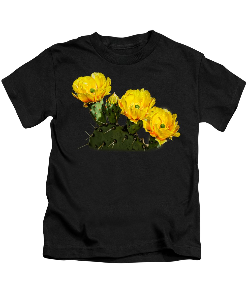Arizona Kids T-Shirt featuring the photograph Prickly Pear Flowers H42 by Mark Myhaver