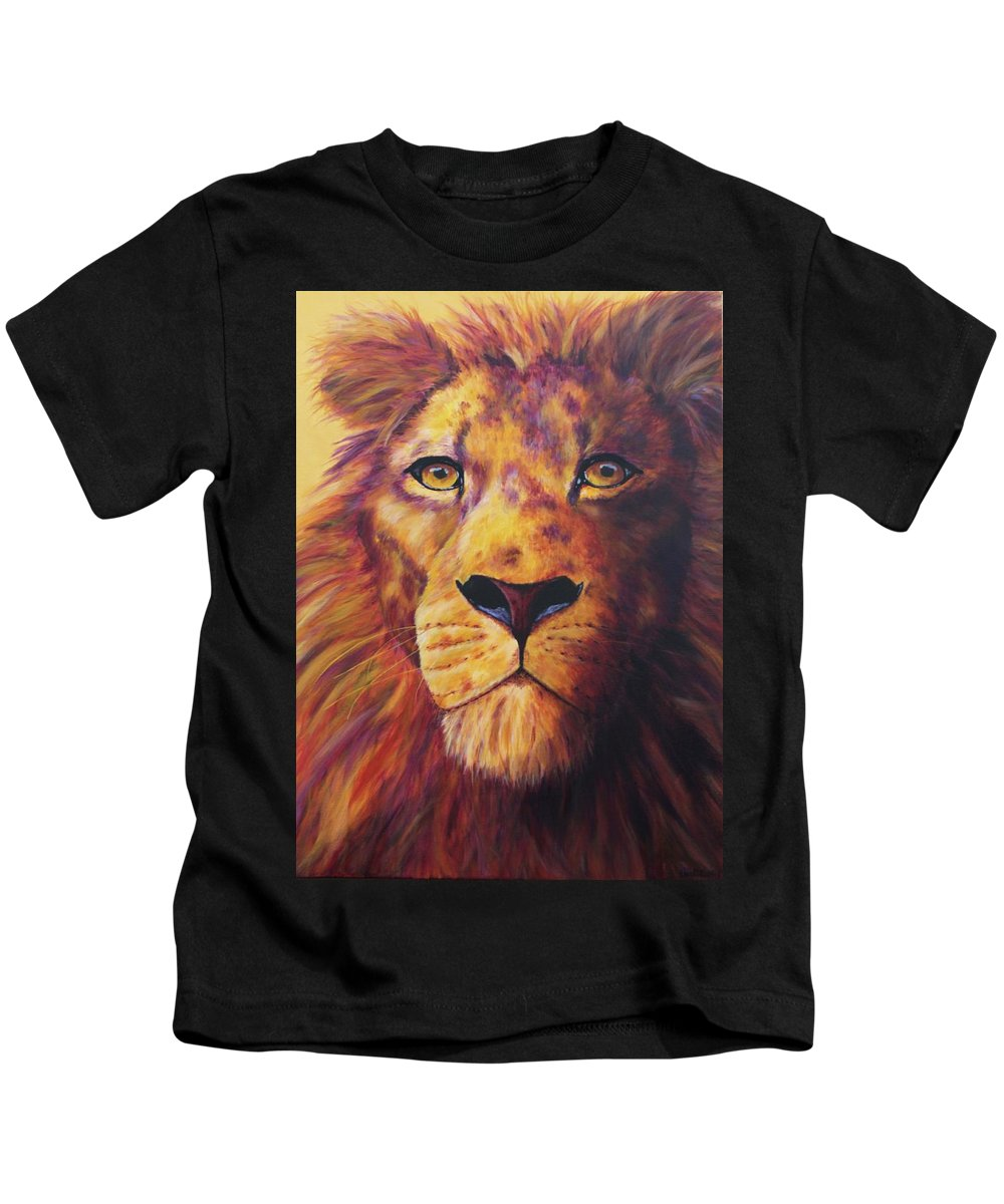 Lion Kids T-Shirt featuring the painting Pride by Wendi Curtis