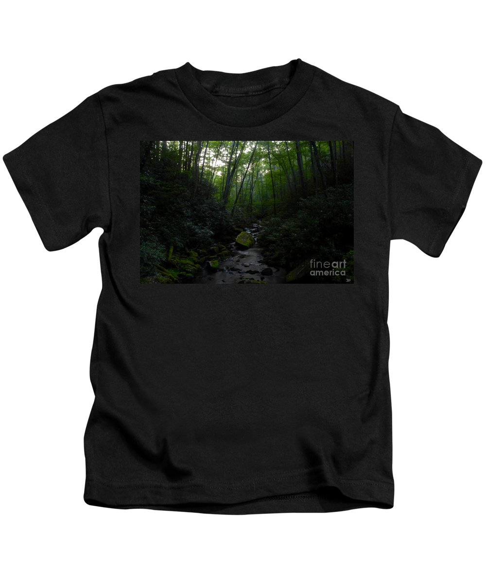 Primordial Forest Kids T-Shirt featuring the painting Primordial Forest by David Lee Thompson
