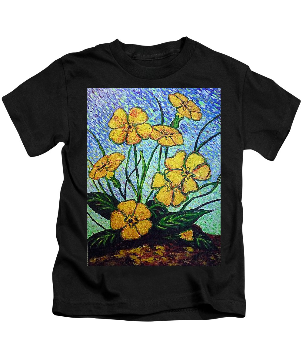 Flowers Kids T-Shirt featuring the painting Primula Veris by Ericka Herazo