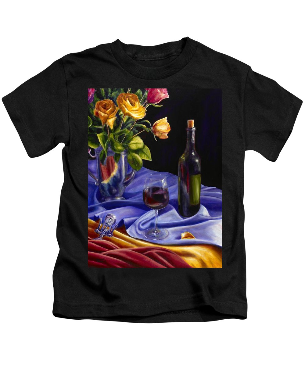Still Life Kids T-Shirt featuring the painting Private Label by Shannon Grissom