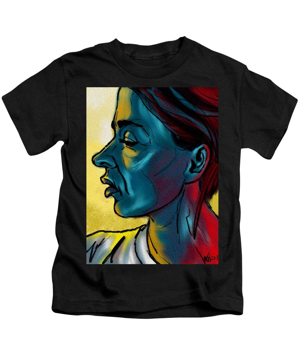 Portrait Kids T-Shirt featuring the digital art Profile In Blue by Michael Kallstrom