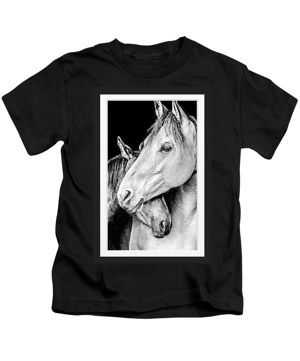 Protection In Black & White Kids T-Shirt featuring the photograph Protection In Black And White by Shirley Anderson