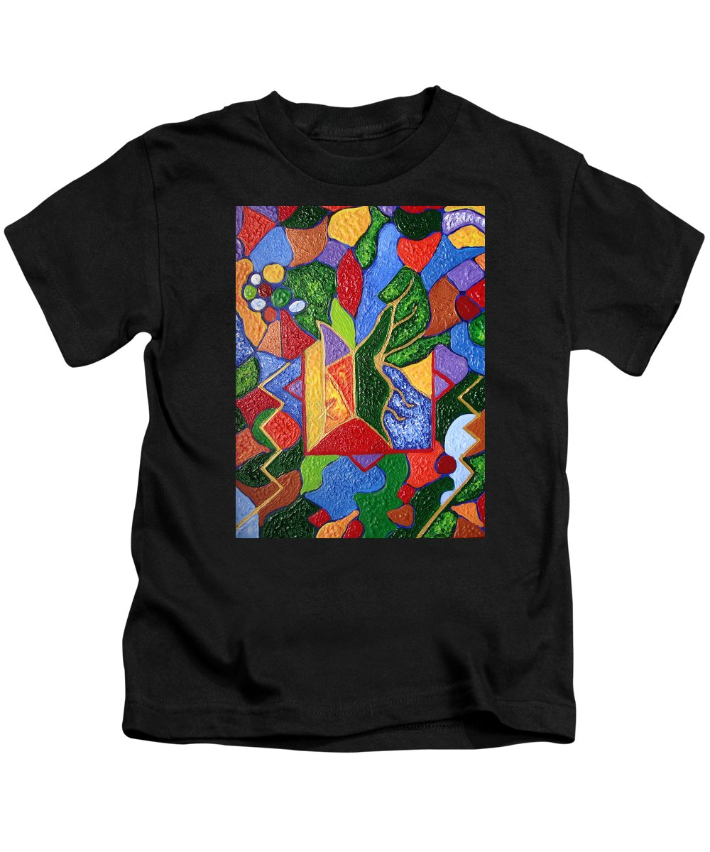 Spiritual Symbol Kids T-Shirt featuring the painting Protection While Project Realization by Joanna Pilatowicz