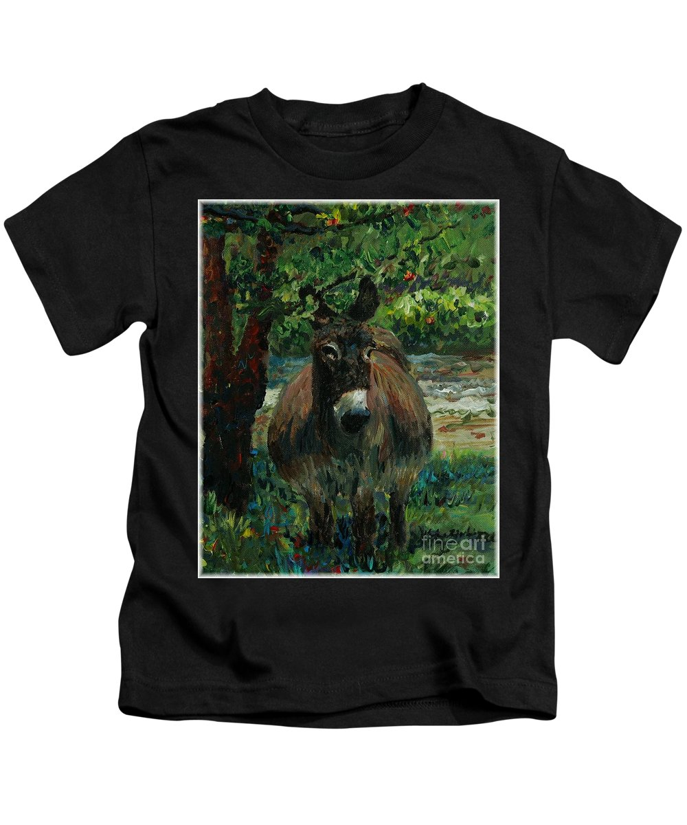 Donkey Kids T-Shirt featuring the painting Provence Donkey by Nadine Rippelmeyer