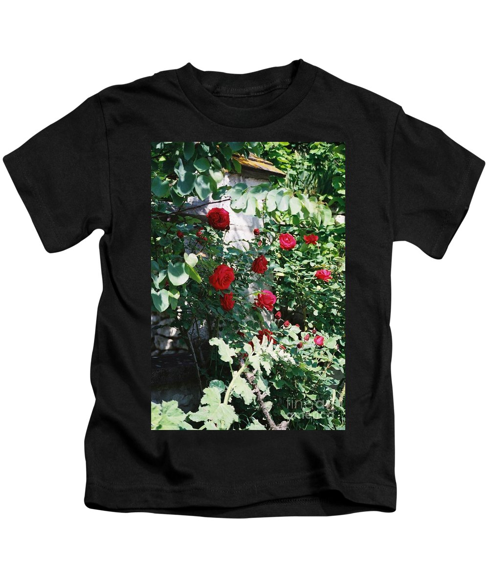 Floral Kids T-Shirt featuring the photograph Provence Red Roses by Nadine Rippelmeyer