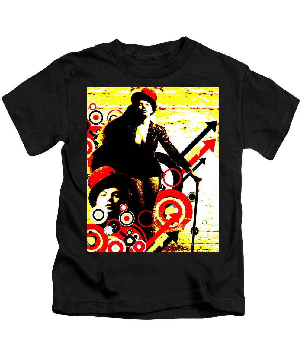 Nostalgic Seduction Kids T-Shirt featuring the digital art Prurient Performer by Chris Andruskiewicz